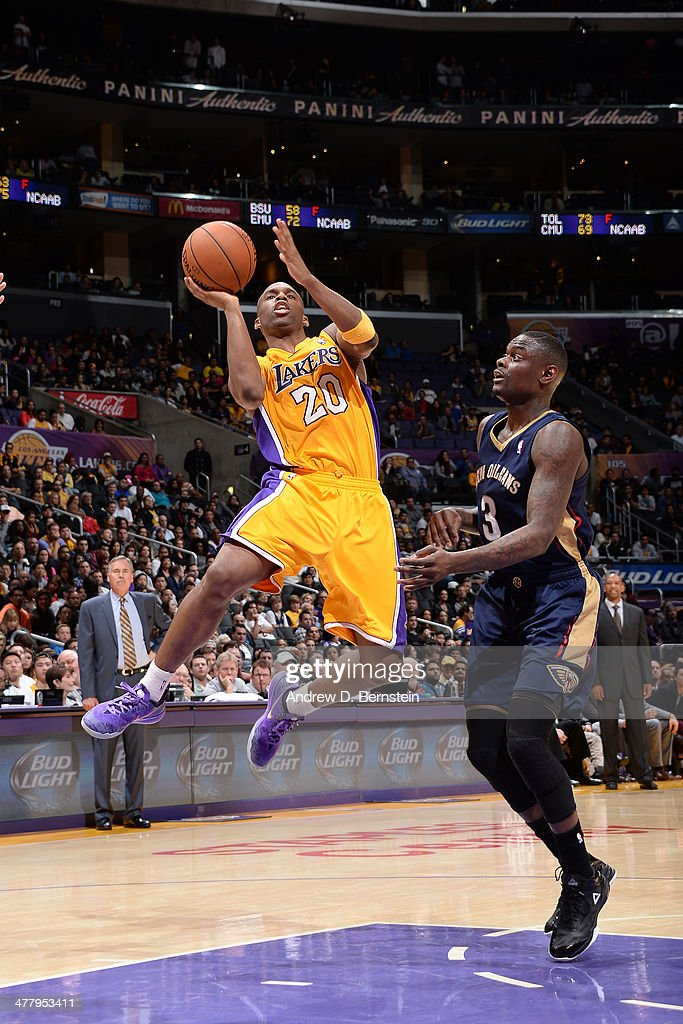 <a gi-track='captionPersonalityLinkClicked' href=/galleries/search?phrase=Jodie+Meeks&family=editorial&specificpeople=4001727 ng-click='$event.stopPropagation()'>Jodie Meeks</a> #20 of the Los Angeles Lakers takes a shot against the New Orleans Pelicans at Staples Center on March 4, 2014 in Los Angeles, California.