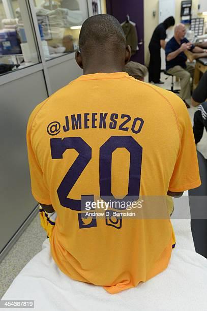 Jodie Meeks of the Los Angeles Lakers wears his social media night shooting shirt as part of social media night before a game between the Los Angeles...