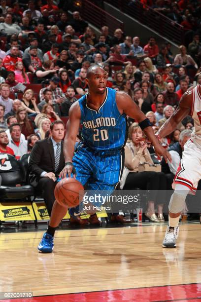 Jodie Meeks of the Orlando Magic handles the ball during a game against the Chicago Bulls on April 10 2017 at the United Center in Chicago Illinois...