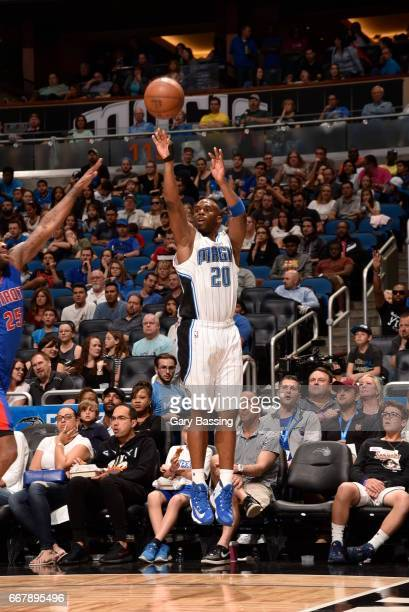 Jodie Meeks of the Orlando Magic shoots the ball against the Detroit Pistons on April 12 2017 at the Amway Center in Orlando Florida NOTE TO USER...