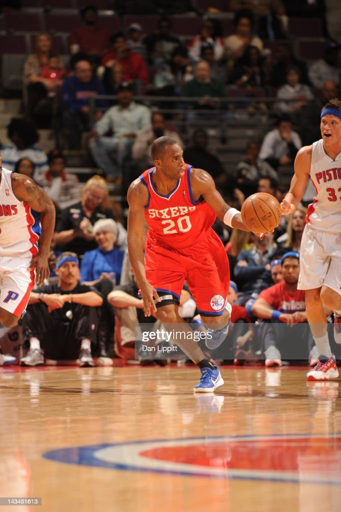 Jodie Meeks of the Philadelphia 76ers drives during the game between the Detroit Pistons and the Philadelphia 76ers on April 26 2012 at The Palace of...