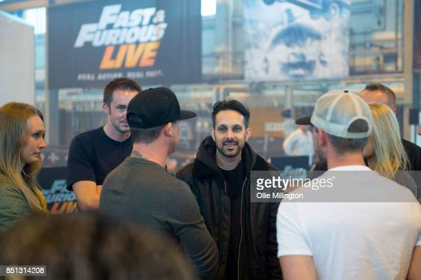 Jodie Rasburn Kris Knox and Dynamo during the 'Fast Furious Live' media launch day event on September 21 2017 at the Fast Furious 'Fast Camp' live...