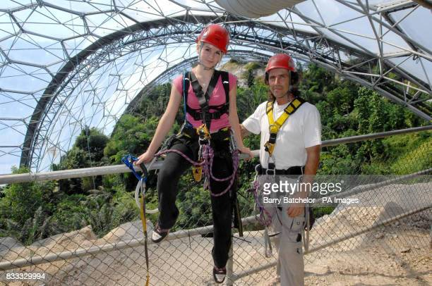 Jodie Talbot aged 18 with her father Paul Talbot in the tropical biome at the Eden Project