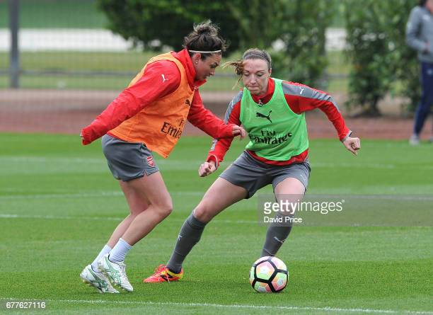 Jodie Taylor and Louise Quinn of Arsenal Ladies during an Arsenal Ladies Training Session at London Colney on May 3 2017 in St Albans England