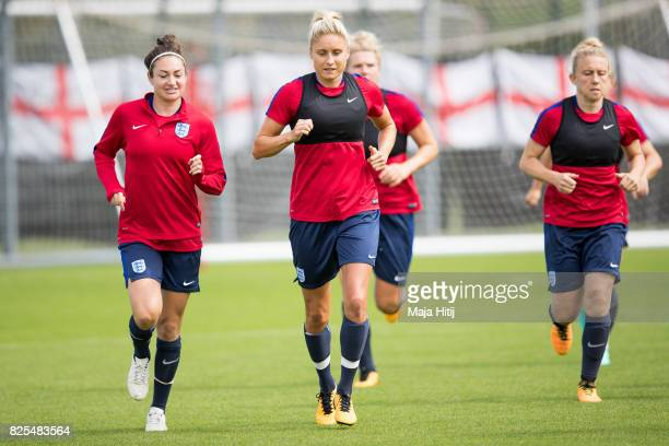 Jodie Taylor and Steph Houghton run during the England Training Session at Sporting 70 on August 2 2017 in Utrecht Netherlands