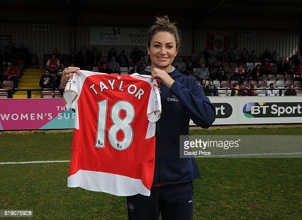 Jodie Taylor Arsenal Ladies latest signing is introduced to the crowd before the match between Arsenal Ladies and Notts County Ladies at Meadow Park...