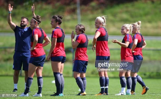Jodie Taylor Lucy Bronze Fran Kirby Steph Houghton Isobel Christiansen of England Women during the England training session at on July 18 2017 in...