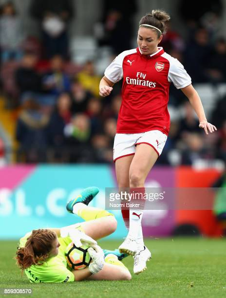 Jodie Taylor of Arsenal and Sophie Baggaley of Bristol in action during the Women's Super League 1 match between Arsenal and Bristol City at Meadow...