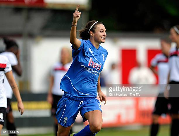 Jodie Taylor of Birmingham City Ladies celebrates after scoring her team's first goal during the FA WSL Continental Cup Semi Final match between...