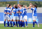 Jodie Taylor of Birmingham City Ladies FC is congratulated by her teammates after scoring her side's second goal during the FA Women's Super League...