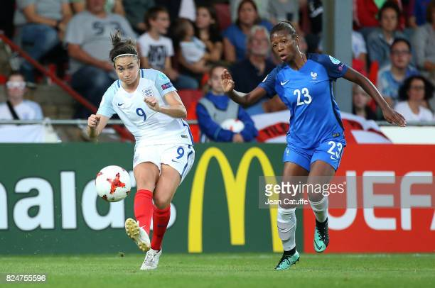 Jodie Taylor of England and Grace Geyoro of France during the UEFA Women's Euro 2017 quarter final match between England and France at Stadion De...