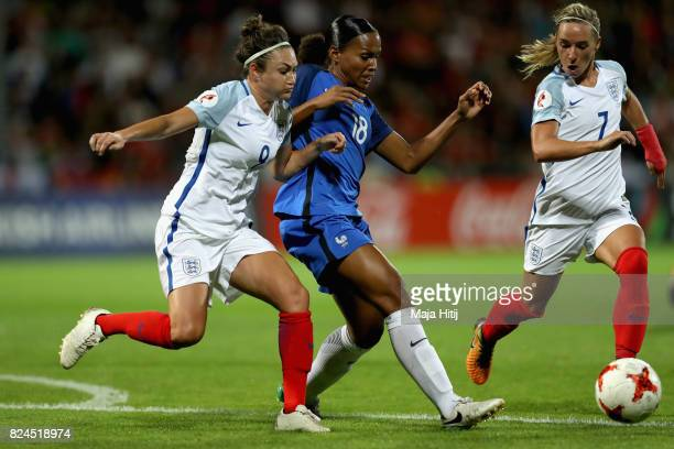 Jodie Taylor of England and MarieLaure Delie of France battle for possession during the UEFA Women's Euro 2017 Quarter Final match between France and...
