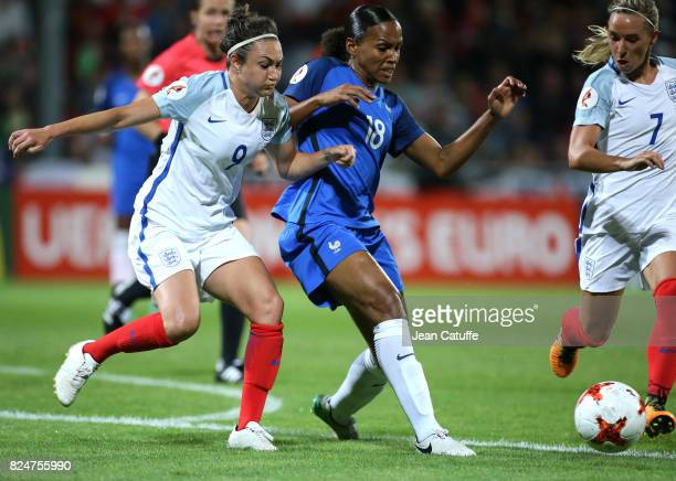 Jodie Taylor of England and MarieLaure Delie of France during the UEFA Women's Euro 2017 quarter final match between England and France at Stadion De...