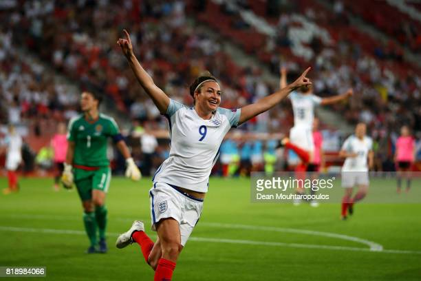 Jodie Taylor of England celebrates after scoring her hatrick and the teams fourth goal during the UEFA Women's Euro 2017 Group D match between...