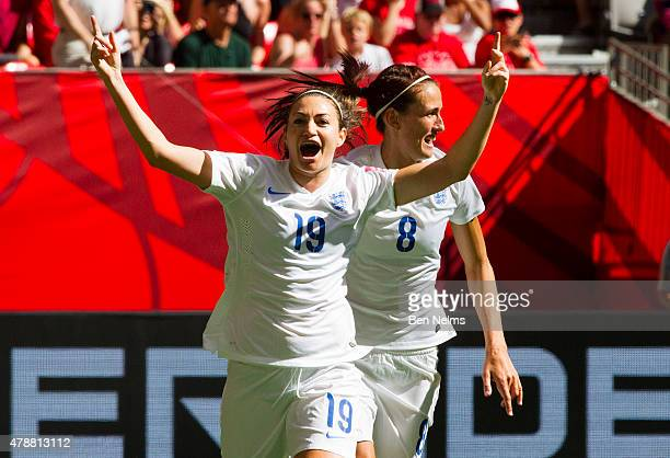Jodie Taylor of England celebrates her goal against Canada with teammate Jill Scott during the FIFA Women's World Cup Canada 2015 Quarter Final match...