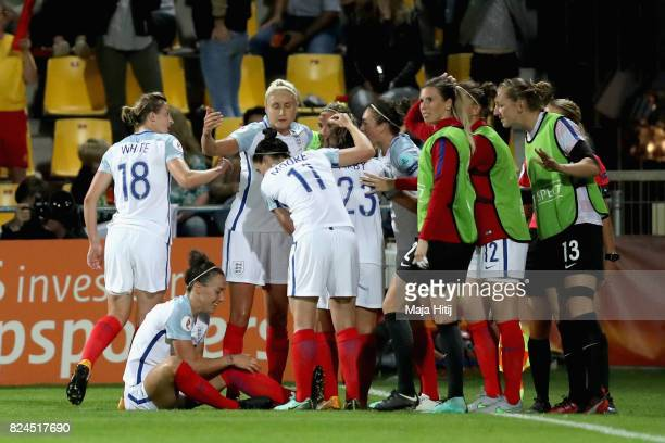 Jodie Taylor of England celebrates scoring her sides first goal with her England team mates during the UEFA Women's Euro 2017 Quarter Final match...