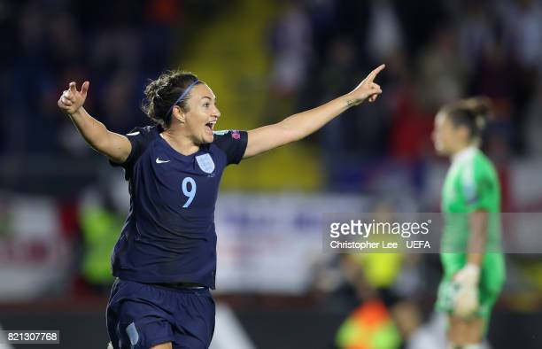 Jodie Taylor of England celebrates scoring their second goal during the UEFA Women's Euro 2017 Group D match between England and Spain at Rat Verlegh...