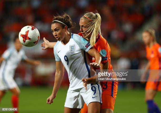 Jodie Taylor of England controls the ball under presure from Stephanie van der Gragt of The Netherlands during the UEFA Women's Euro 2017 Semi Final...