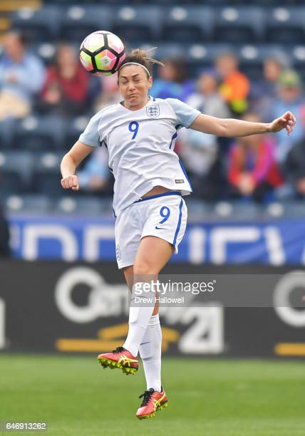 Jodie Taylor of England heads the ball against France during the SheBelieves Cup at Talen Energy Stadium on March 1 2017 in Chester Pennsylvania