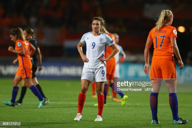 Jodie Taylor of England looks dejected after the UEFA Women's Euro 2017 Second Semi Final match between Netherlands and England at De Grolsch Veste...