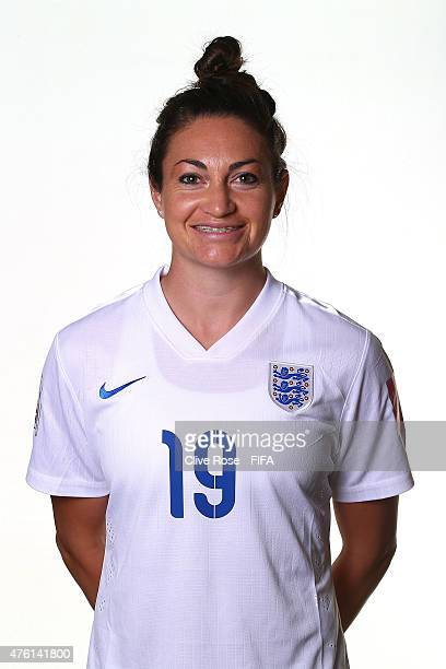 Jodie Taylor of England poses during a FIFA Women's World Cup portrait session on June 6 2015 in Moncton Canada