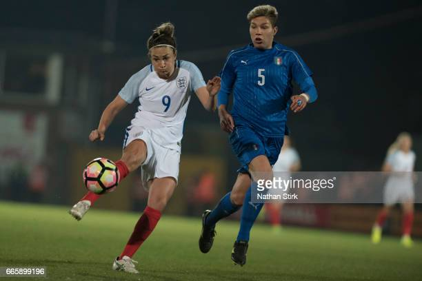 Jodie Taylor of England scores the opening goal during the Women's International Friendly match between England Women and Italy Women at Vale Park on...