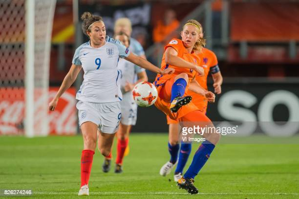 Jodie Taylor of England women Anouk Dekker of Holland Women during the semifinal UEFA WEURO 2017 match between The Netherlands and England at the...