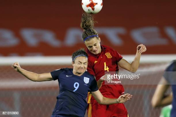 Jodie Taylor of England women Irene Paredes of Spain women during the UEFA WEURO 2017 Group D group stage match between England and Spain at the Rat...