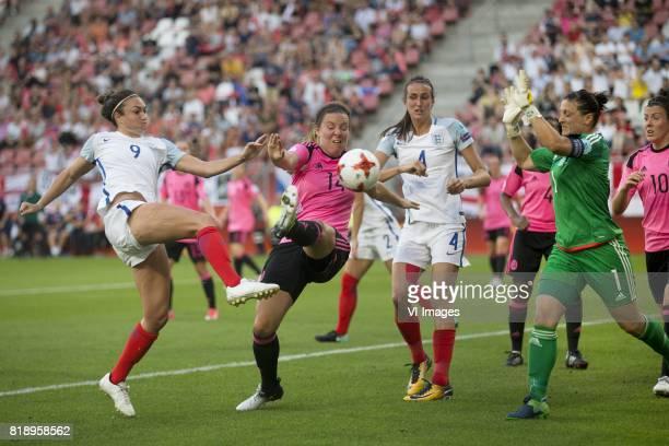 Jodie Taylor of England women Rachel Corsie of Scotland women Jill Scott of England women goalkeeper Gemma Fay of Scotland women during the UEFA...