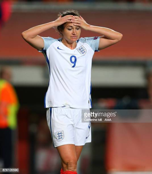 Jodie Taylor of England Women reacts after missing a chance during the UEFA Women's Euro 2017 semi final match between Netherlands and England at De...