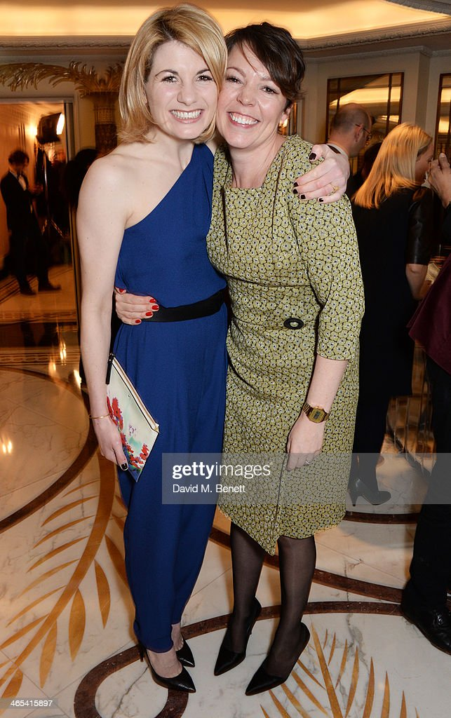 Jodie Whittaker (L) and Olivia Colman attend a drinks reception at the South Bank Sky Arts awards at the Dorchester Hotel on January 27, 2014 in London, England.