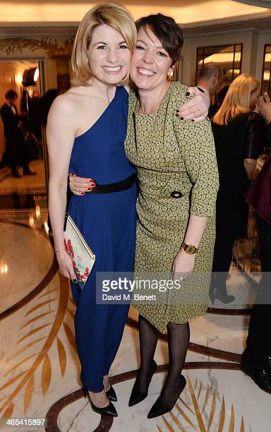Jodie Whittaker and Olivia Colman attend a drinks reception at the South Bank Sky Arts awards at the Dorchester Hotel on January 27 2014 in London...
