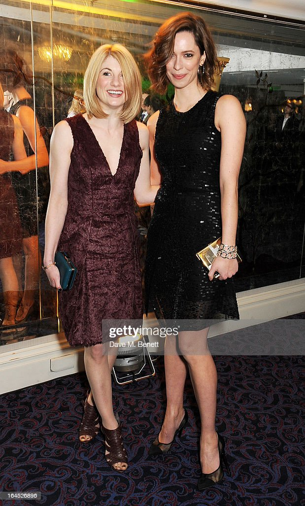 Jodie Whittaker (L) and Rebecca Hall arrive at the Jameson Empire Awards 2013 at The Grosvenor House Hotel on March 24, 2013 in London, England.