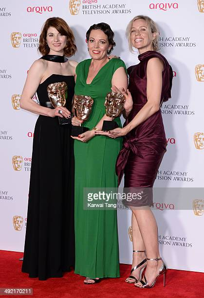 Jodie Whittaker Olivia Colman and Simone McAullay with the Drama Series Award for Broadchurch at the Arqiva British Academy Television Awards held at...