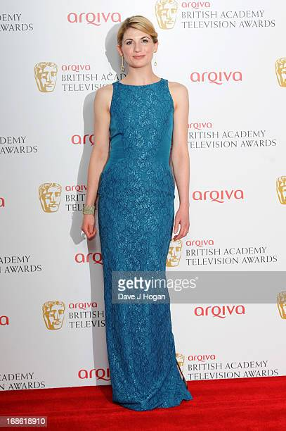 Jodie Whittaker poses in front of the winners boards at the BAFTA TV Awards 2013 at The Royal Festival Hall on May 12 2013 in London England