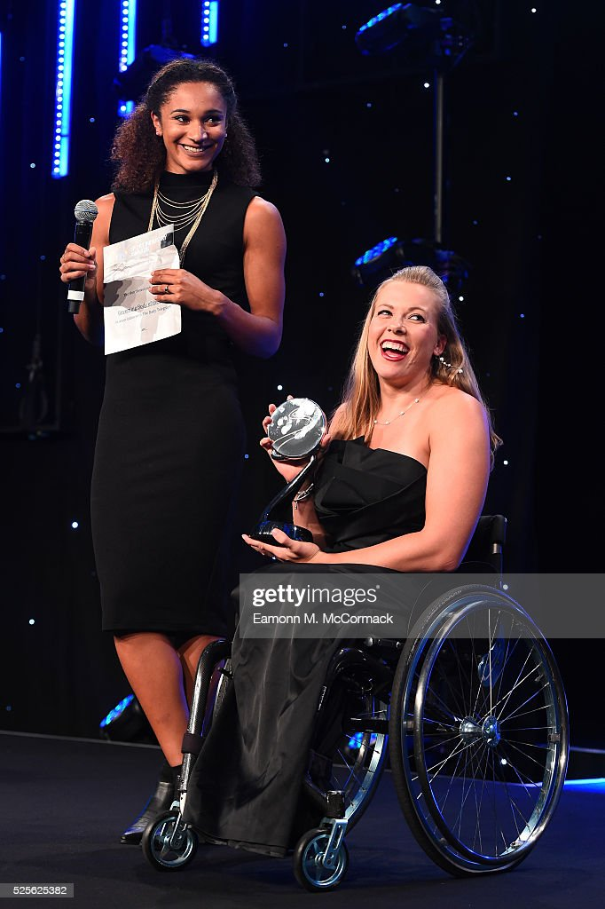 Jodie Williams and Hannah Cockroft present the Governing Body of the Year award in association with The Daily Telegraph to British Gymnastics at the BT Sport Industry Awards 2016 at Battersea Evolution on April 28, 2016 in London, England. The BT Sport Industry Awards is the most prestigious commercial sports awards ceremony in Europe, where over 1750 of the industry's key decision-makers mix with high profile sporting celebrities for the most important networking occasion in the sport business calendar.