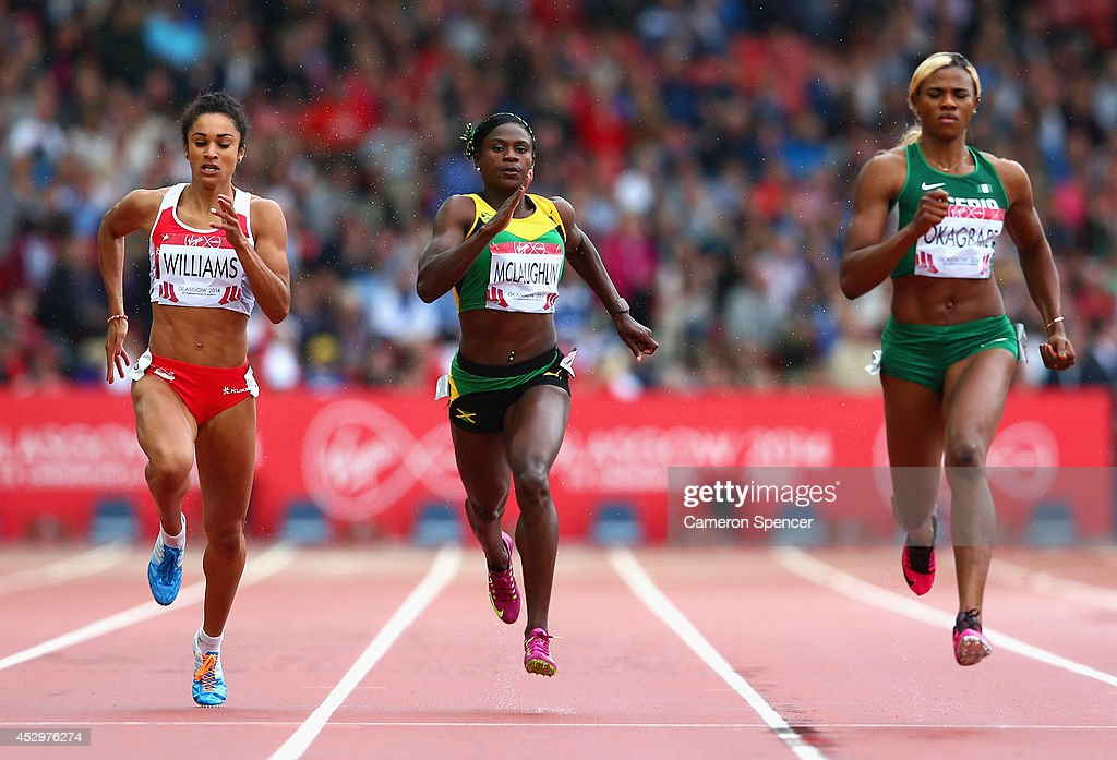 <a gi-track='captionPersonalityLinkClicked' href=/galleries/search?phrase=Jodie+Williams+-+Sprinter&family=editorial&specificpeople=5964402 ng-click='$event.stopPropagation()'>Jodie Williams</a> of England, Anneisha McLaughlin of Jamaica and <a gi-track='captionPersonalityLinkClicked' href=/galleries/search?phrase=Blessing+Okagbare&family=editorial&specificpeople=5496695 ng-click='$event.stopPropagation()'>Blessing Okagbare</a> of Nigeria compete in the Women's 200 metres Semi Final at Hampden Park during day eight of the Glasgow 2014 Commonwealth Games on July 31, 2014 in Glasgow, United Kingdom.