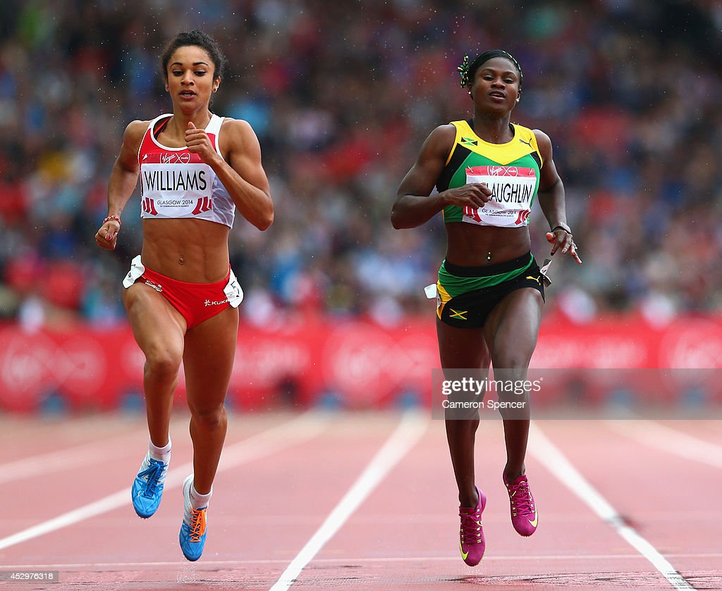 <a gi-track='captionPersonalityLinkClicked' href=/galleries/search?phrase=Jodie+Williams+-+Sprinter&family=editorial&specificpeople=5964402 ng-click='$event.stopPropagation()'>Jodie Williams</a> of England, Anneisha McLaughlin of Jamaica and Blessing Okagbare of Nigeria compete in the Women's 200 metres Semi Final at Hampden Park during day eight of the Glasgow 2014 Commonwealth Games on July 31, 2014 in Glasgow, United Kingdom.