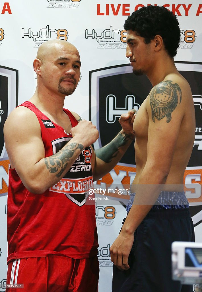 Jody Allen of New Zealand (L) and Jordan Tuigamala of New Zealand face off during the weigh in ahead of tomorrow night's undercard bout between Jody Allen and Jordan Tuigamala at Trusts Stadium on June 12, 2013 in Auckland, New Zealand.