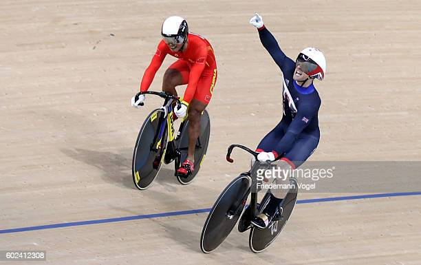Jody Cundy of Great Britain celebrates after winning the Mixed C15 750m Team Sprint Time Track Cycling on day 4 of the Rio 2016 Paralympic Games at...
