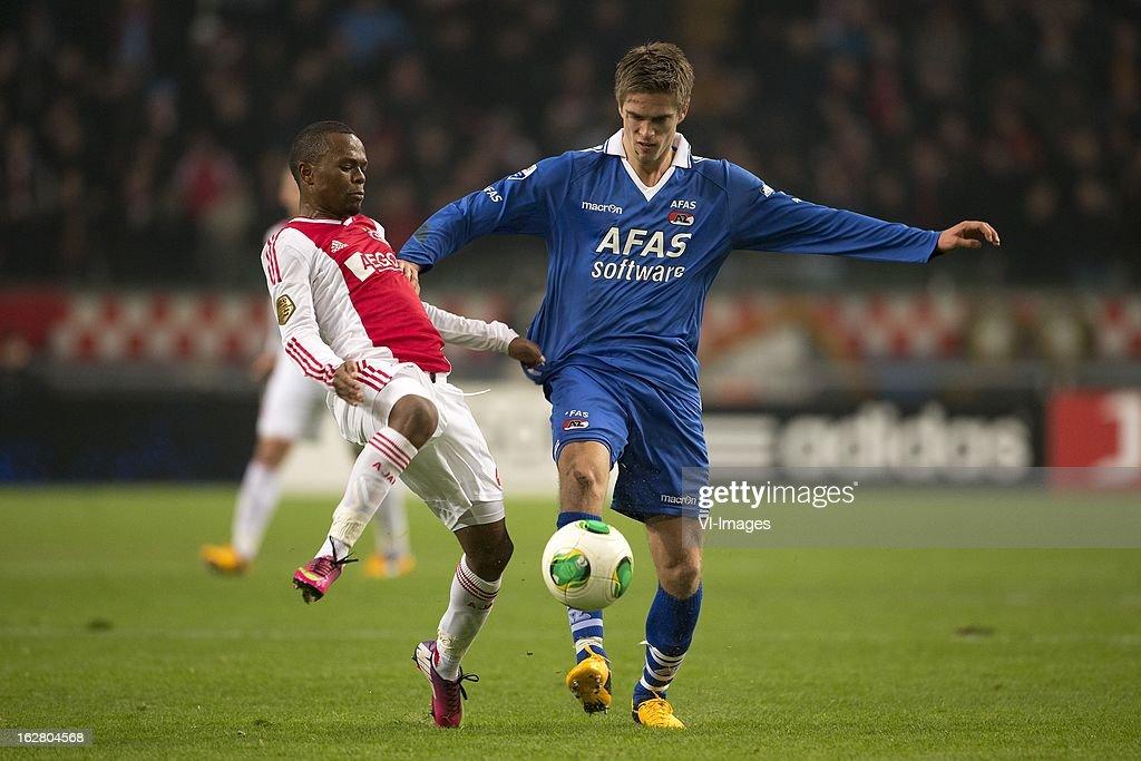 Jody Lukoki of Ajax, Markus Hendriksen of AZ during the Dutch Cup match between Ajax Amsterdam and AZ Alkmaar at the Amsterdam Arena on february 27, 2013 in Amsterdam, The Netherlands