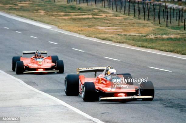 Jody Scheckter and Gilles Villeneuve in Ferrari 312T3s