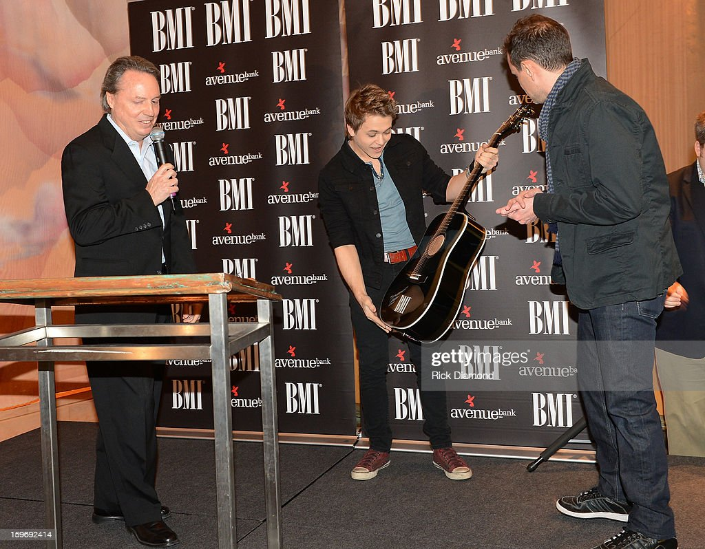 Jody Williams BMI, <a gi-track='captionPersonalityLinkClicked' href=/galleries/search?phrase=Hunter+Hayes&family=editorial&specificpeople=3290701 ng-click='$event.stopPropagation()'>Hunter Hayes</a> co-writer and Troy Verges co-writer attend the 'Wanted' No 1 Party on January 17, 2013 in Nashville, Tennessee.