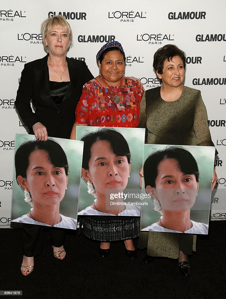Jody Williams, Rigoberta Menchu Tum and Shirin Ebadi attend the 2008 Glamour Women of the Year Awards at Carnegie Hall on November 10, 2008 in New York City.