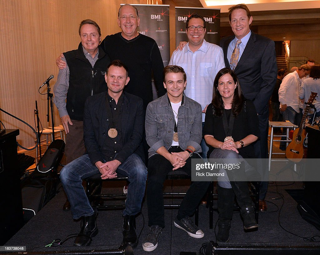 Jody Williams, Warner Music Nashvilles John Esposito, Universal Music Publishings Kent Earls and BMIs Clay Bradley; (front row, l-r): co-writer Troy Verges, Hunter Hayes and co-writer Lori McKenna during the BMI and Hunter Hayes Celebration of their No. 1 Song 'I Want Crazy' at BMI offices In Nashville on October 8, 2013 in Nashville, Tennessee.