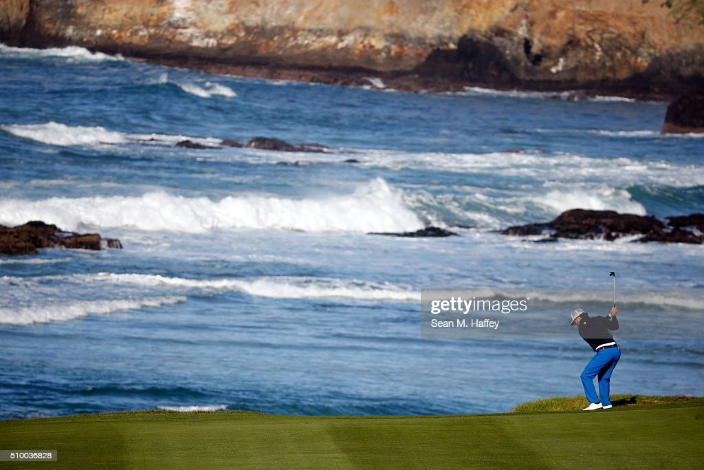 Joe Affrunti plays a shot from the 10th fairway during round three of the AT&T Pebble Beach National Pro-Am at the Pebble Beach Golf Links on February 13, 2016 in Pebble Beach, California.