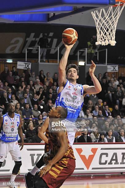 Joe Alexander of Banco di Sardegna competes with Josh Owens of Umana during the LegaBsaket Serie A match between Reyer Umana Venezia and Banco di...