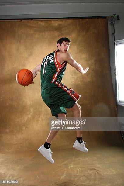 Joe Alexander of the Milwaukee Bucks poses for a portrait during the 2008 NBA Rookie Photo Shoot on July 29 2008 at the MSG Training Facility in...