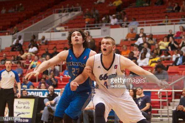 Joe Alexander of the Texas Legends and Cole Aldrich of the Tulsa 66ers battle under the basket as the Tulsa 66ers meet the Texas Legends in Game Two...