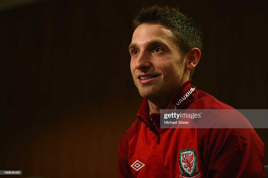 Joe Allen during the Wales press conference at St David's Hotel on February 4, 2013 in Cardiff, Wales.
